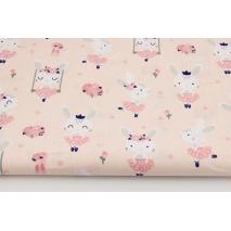 Bawełna 100% króliczki na huśtawkach na różowym tle