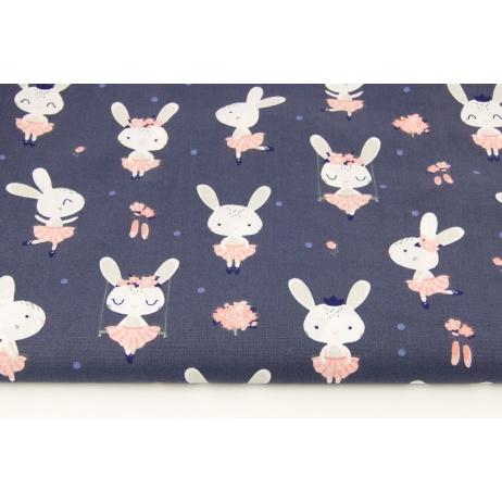 Bawełna 100% króliczki na huśtawkach na grafitowym tle