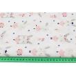 Bawełna 100% króliczki na huśtawkach na białym tle