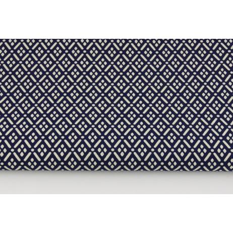 Bawełna 100% mini mozaika geometryczna ciemny granat (batyst)