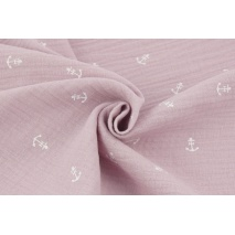 Double gauze 100% cotton white anchors on a dirty heather background