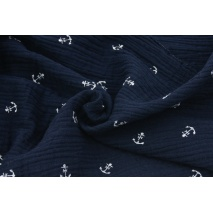 Double gauze 100% cotton white anchors on a navy blue background