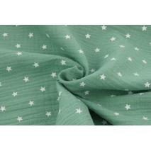 Muślin bawełniany, białe gwiazdki na zielonym tle
