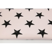 Looped knitwear black stars on a powder pink background