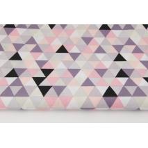 Bawełna 100% średnie trójkąty fioletowo-koralowo-łososiowe R