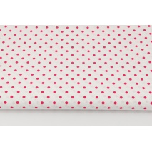 Cotton 100% fuchsia dots 4mm on a white background