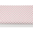 Bawełna 100% fuksjowe kropki 4mm na białym tle