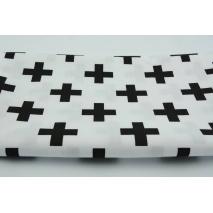 Bawełna 100% czarne krzyżyki, plusiki na białym tle II jakość