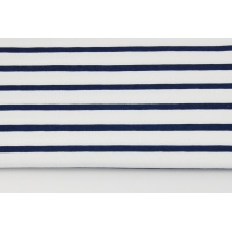 Knitwear, jersey 7mm navy stripes on a white background
