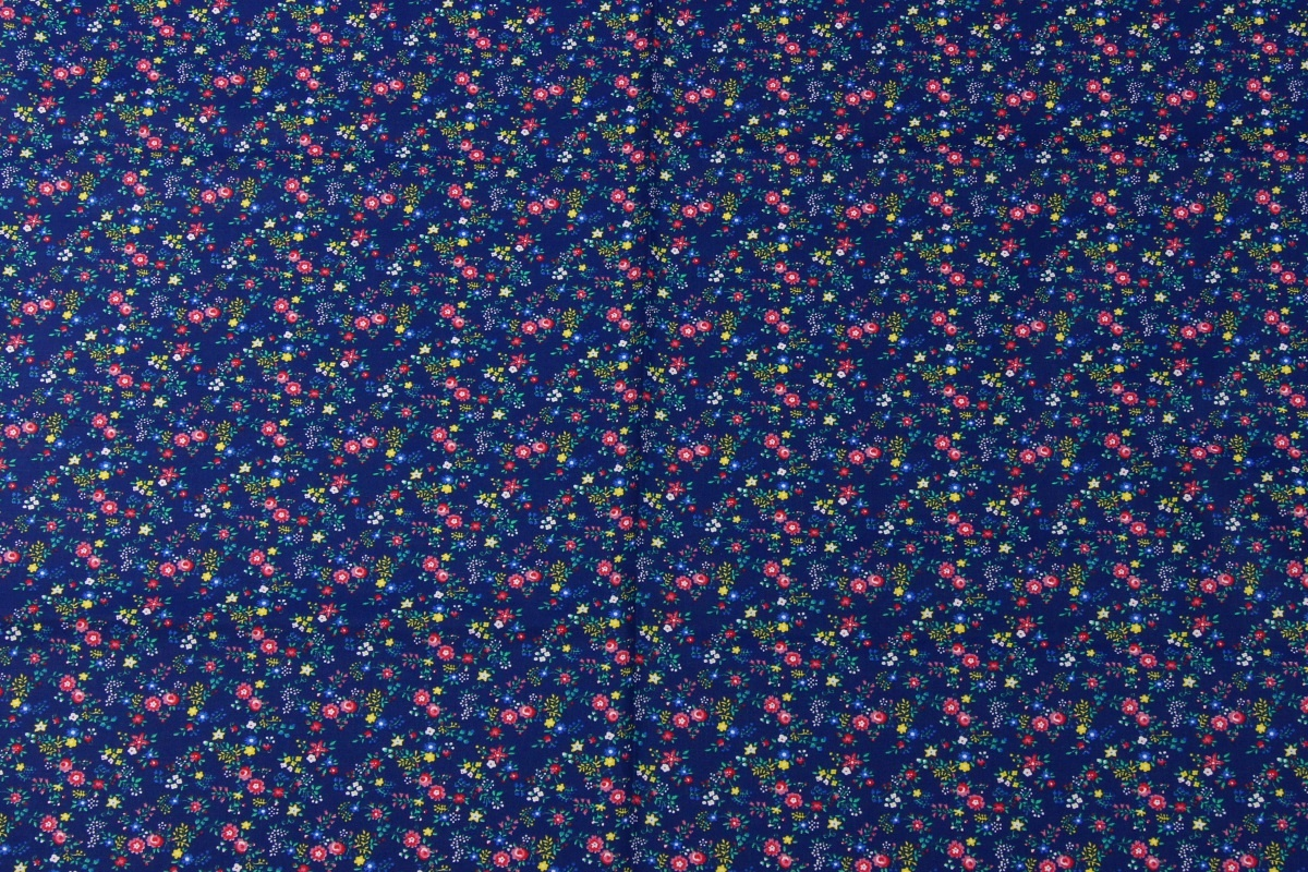 cotton 100 small pink yellow and blue flowers on a navy blue background. Black Bedroom Furniture Sets. Home Design Ideas