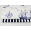 100% cotton HOME DECOR, navy sailing ships, anchors on a white background 220g/m2