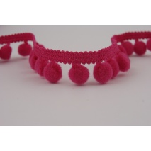 Ribbon fuchsia small pom-poms
