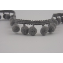 Ribbon gray small pom-poms