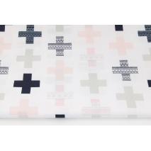 Bawełna 100% różowe, granatowe krzyżyki na białym tle