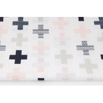 Cotton 100% pink, dark navy crosses on a white background