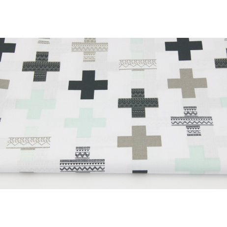 Cotton 100% mint, black crosses on a white background