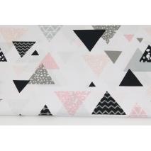 Bawełna 100% mix trójkąty różowo-szaro-czarne na białym tle