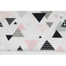 Cotton 100% mix triangles pink-gray-black on a white background