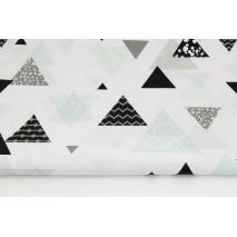 Bawełna 100% mix trójkąty miętowo-szaro-czarne na białym tle