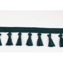 Ribbon with fringes dark emerald 5cm