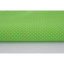 Bawełna 100% kropki białe 2mm na jaskrawozielonym tle II jakość