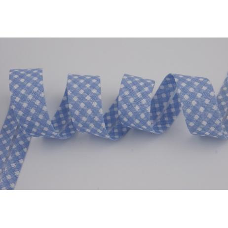 Lamówka bawełniana niebieska krateczka vichy 18mm
