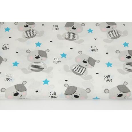 Cotton 100% gray teddy bears and turquoise stars