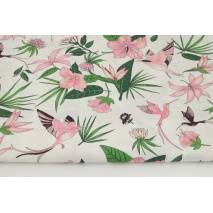 Cotton 100% pink hummingbirds, flowers on a white background