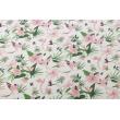 Bawełna 100% różowe kolibry, kwiaty na białym tle