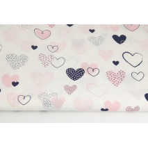 Cotton 100% navy-coral hearts