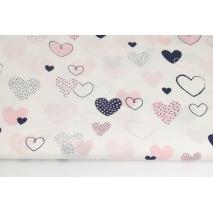 Cotton 100% navy-coral hearts