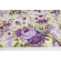Bawełna 100% duże fioletowe róże na kremowym tle