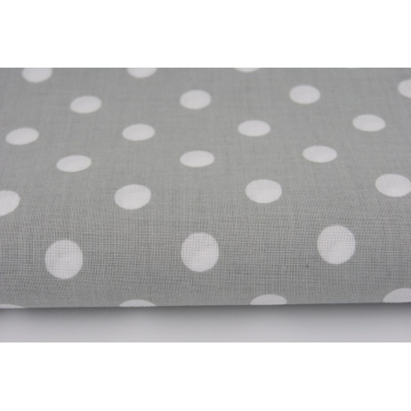 Cotton 100% polka dots 10mm on a light gray background