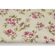Viscose 100% pink flowers on a beige background