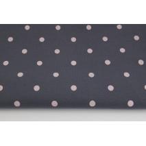 Dzianina, jersey w jasnoróżowe kropki 10 mm na ciemnoszarym tle