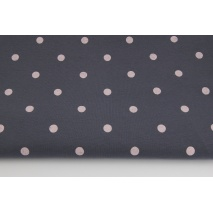 Knitwear, jersey light pink dots 10mm on a dark gray background