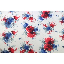 Cotton 100% cobalt-red XL flowers, watercolor