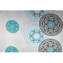 Bawełna 100% wzór orientalny turkusowo-szary XL