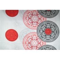 Bawełna 100% wzór orientalny czerwono-szary XL