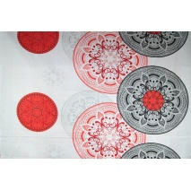 Cotton 100% oriental pattern red-gray XL
