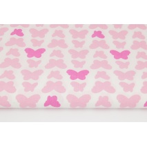 Cotton 100% fuchsia-pink butterflies on a white background