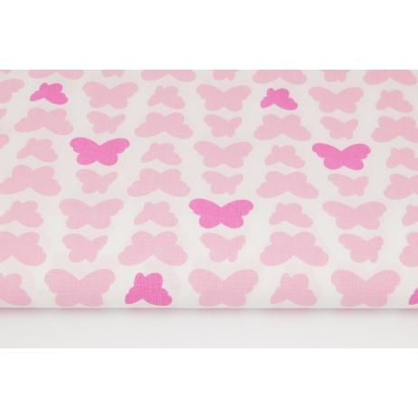Bawełna 100% fuksjowo-różowe motyle na białym tle