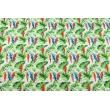 Cotton 100% parrots among tropical leaves