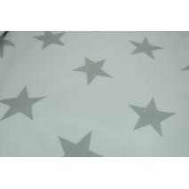 Bawełna 100% biała w duże, szare gwiazdy II jakość