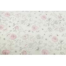 Dzianina, dresówka w różowe i szare róże na kremowym tle
