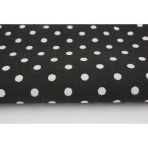 Bawełna 100% kropki 7mm na czarnym tle