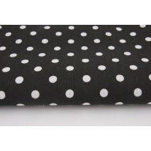 Cotton 100% polka dots 7mm on a black background