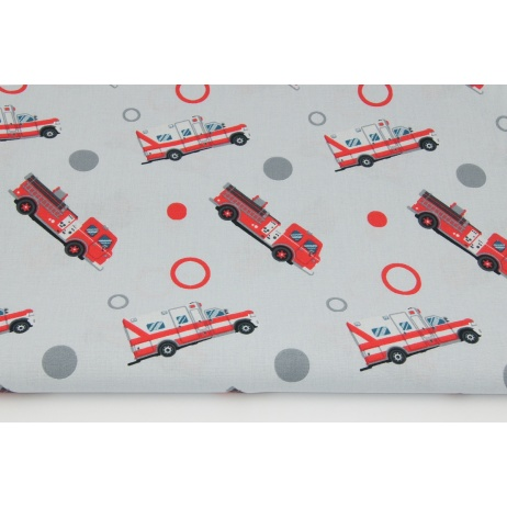 Cotton 100% fire trucks, ambulances on a light gray background