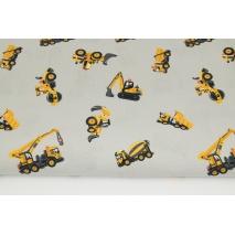 Bawełna 100% żółte pojazdy drogowe na szaro-beżowym tle