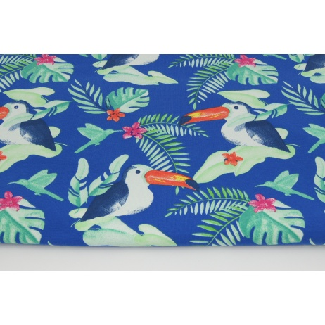 Jersey in toucans on a cornflower background